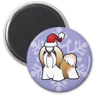 Christmas Shih Tzu (show cut) Magnet