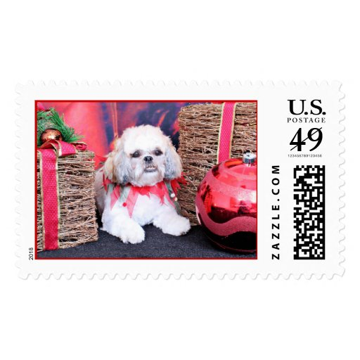 Christmas - Shih Tzu - Wrigley Postage Stamp