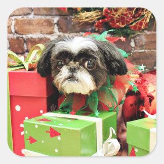 Christmas - Shih Tzu - Yogi Square Sticker