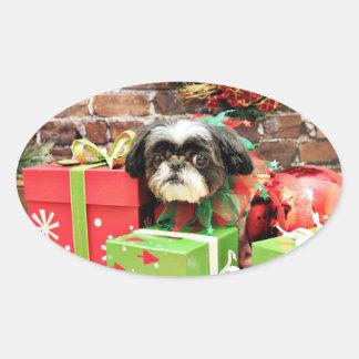 Christmas - Shih Tzu - Yogi Oval Stickers