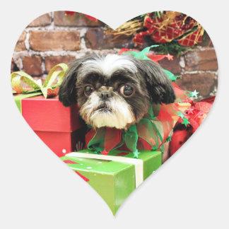 Christmas - Shih Tzu - Yogi Heart Sticker