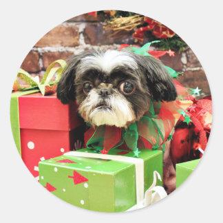 Christmas - Shih Tzu - Yogi Round Sticker