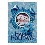 Christmas - Shihchon - Poochon -Newman and Wrigley Greeting Card