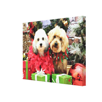 Christmas - ShihPoo - Sophie and Twix Stretched Canvas Print