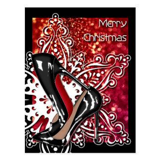Christmas Shoes Stilettos fashion Snowflake Xmas Postcard