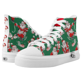 Christmas Shoes with Retro Vintage Images Santa