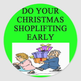 CHRISTMAS shoplifting joke Stickers