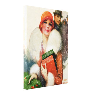 CHRISTMAS SHOPPERS HOLIDAY VINTAGE CANVAS