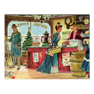 Christmas Shopping at the General Store Postcard