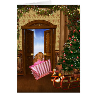 Christmas shopping dog greeting card