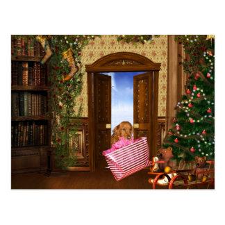 Christmas shopping dog postcard