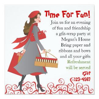 Christmas Shopping 5.25x5.25 Square Paper Invitation Card