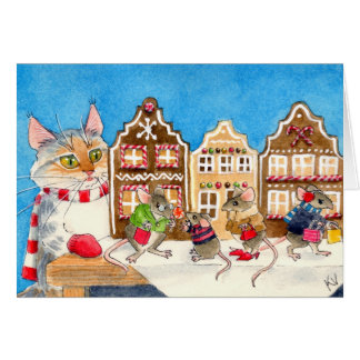 Christmas shopping mice and cat greeting card