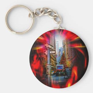 Christmas Shopping New York - Weihnachtsshopping Basic Round Button Keychain