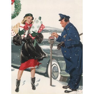 Christmas Shopping; Policeman Feeding the Meter Postcards