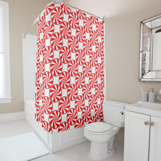 Christmas Shower Curtain Candy Cane Swirls