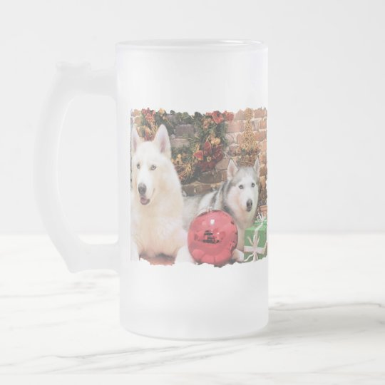 Christmas - Siberian Huskies - Bailey and Katya Frosted Glass Beer Mug