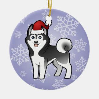 Christmas Siberian Husky / Alaskan Malamute Ceramic Ornament