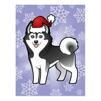 Christmas Siberian Husky / Alaskan Malamute Postcard