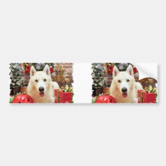 Christmas - Siberian Husky - Bailey Portait Bumper Stickers