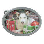 Christmas - Siberian Husky - Juliet Oval Belt Buckle