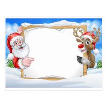 Christmas Sign Reindeer and Santa Background Postcard