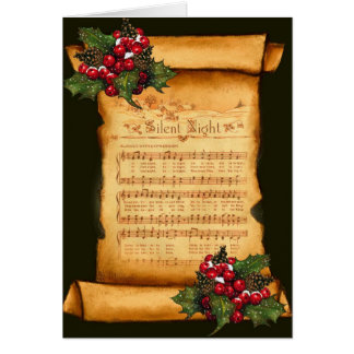 Christmas: Silent Night Sheet Music on Old Scroll Card