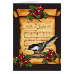 Christmas: Silent Night Sheet Music, Scroll, Bird Greeting Cards