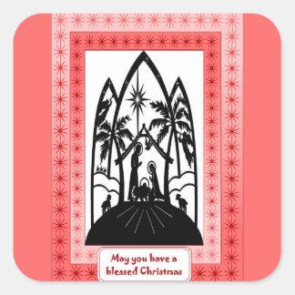Christmas silhouettes square sticker