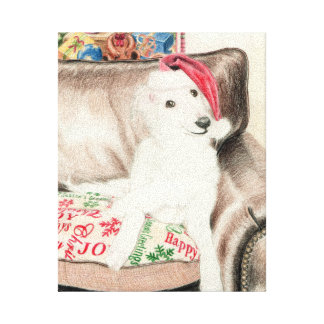 Christmas Silken Windhound Puppy Wrapped Canvas