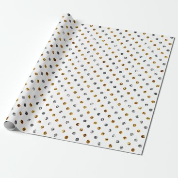 Christmas Themed Christmas Silver and Gold Glitter Polka Dots White Wrapping Paper