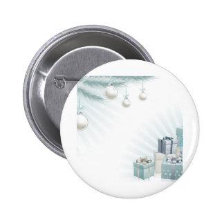 Christmas silver blue corner elements pinback button