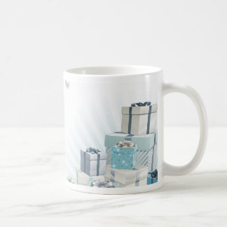 Christmas silver blue corner elements coffee mugs
