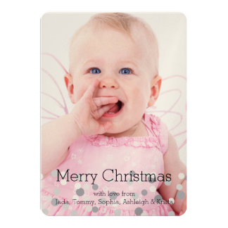 Christmas Silver Confetti Personalized Photo Card