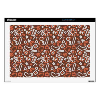 """Christmas Silver on Red Icons Pattern 17"""" Laptop Skins"""