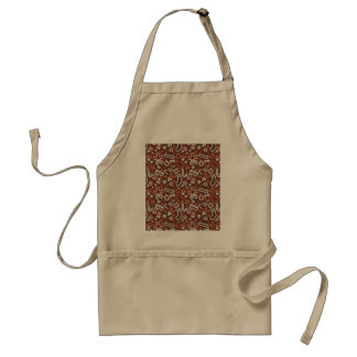 Christmas Silver on Red Icons Pattern Adult Apron