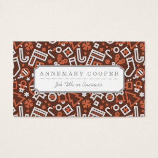 Christmas Silver on Red Icons Pattern Business Card