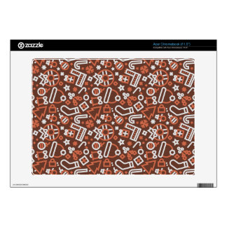 Christmas Silver on Red Icons Pattern Decal For Acer Chromebook