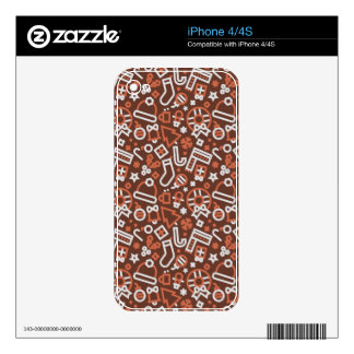 Christmas Silver on Red Icons Pattern Decal For The iPhone 4S