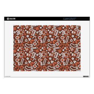 Christmas Silver on Red Icons Pattern Laptop Decals