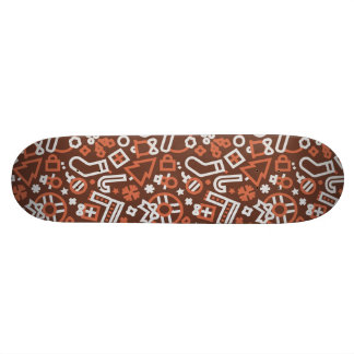 Christmas Silver on Red Icons Pattern Skateboard