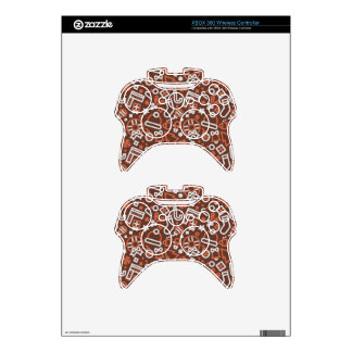 Christmas Silver on Red Icons Pattern Xbox 360 Controller Decal