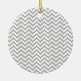 Christmas Silver & White Striped Chevron ZigZag Ornament