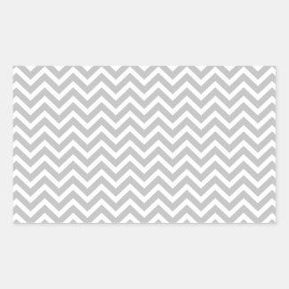 Christmas Silver & White Striped Chevron ZigZag Rectangular Sticker