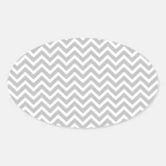 Christmas Silver & White Striped Chevron ZigZag Oval Sticker