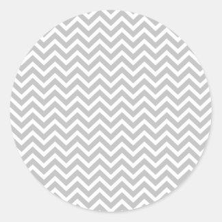 Christmas Silver & White Striped Chevron ZigZag Classic Round Sticker