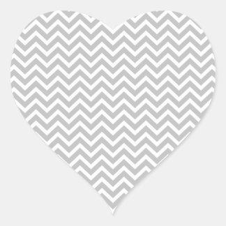 Christmas Silver & White Striped Chevron ZigZag Heart Sticker
