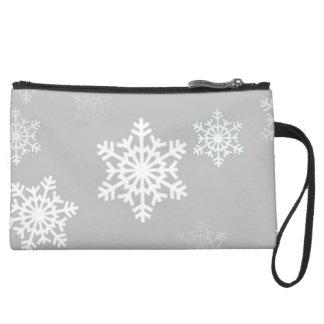 Christmas Silvery White Snow Flurries Wristlet Clutches