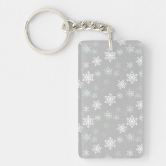 Christmas Silvery White Snow Flurries Keychain