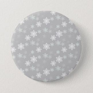 Christmas Silvery White Snow Flurries Pinback Button